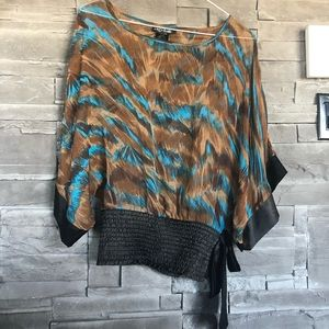 Brown and blue summer blouse